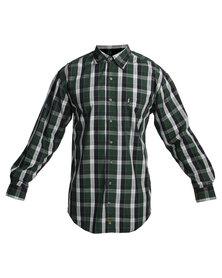 Jeep Long Sleeve Check Shirt Green