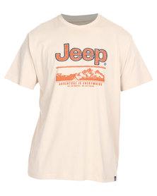Jeep Short Sleeve Applique Emblem Tee Beige