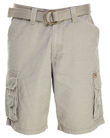 Jeep Belted Cargo Shorts Khaki
