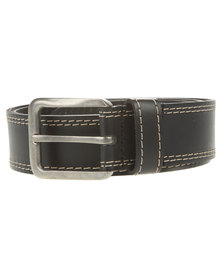 Jeep Twin Stitch Chino Leather Belt Black