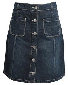 Jeep Knee Length Denim Skirt Blue