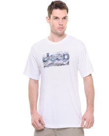 Jeep Short Sleeve Applique Print Tee White