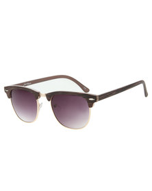 Jeepers Peepers Freddie Wood Finish Clubmaster Sunglasses Brown