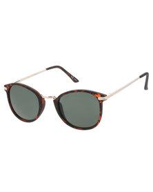 Hugo Metal Bridge Tortoise Round Sunglasses