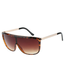 Jeepers Peepers Fire Straight Brow Sunglasses Brown