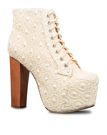 Jeffrey Campbell Lace Lita Ankle Boots Cream