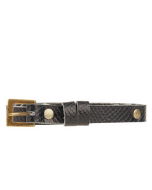 Jinger Jack Studded Belt Snakeskin Navy Blue