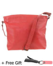 Jinger Jack Orlando Leather Cross Body Bag Red