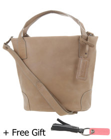 Jinger Jack Iris Leather Bag Taupe