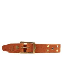 Jinger Jack Studded Leather Skinny Belt Tan