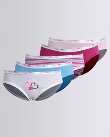 Jockey 5 Pack Girls With Placement Print French Cut Briefs Multi