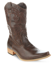 Jordan Leather Cowboy Boots Brown