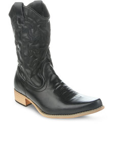Jordan Leather Cowboy Boots Black