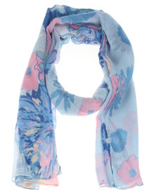Joy Collectables Watercolour Floral Scarf Blue