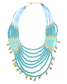Joy Collectables Beaded Necklace Gold & Turquoise