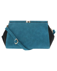 Joy Collectables Trapeze Clutch Bag Black and Turquoise