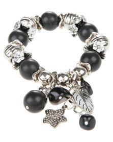 Joy Collectables Bead Charm Bracelet Black & Silver-Tone