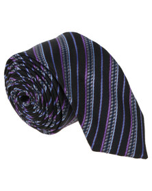 Joy Collectables Mens Design Tie Multi Stripes Blue