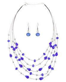 Joy Collectables Fine Blue Stones Necklace and Earring Set