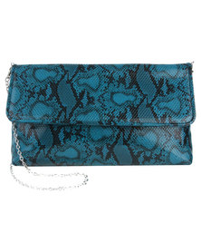 Joy Collectables Snake Clutch With Flap Blue
