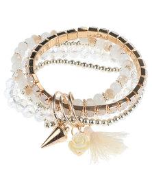 Joy Collectables Tassel Bead Bracelet White
