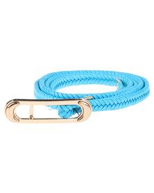 Joy Collectables Leather Plait Adjustable Skinny Belt Turquoise