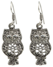 Joy Collectables Owl Drop Earrings Silver-Tone