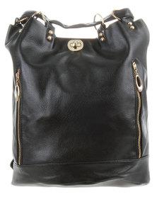 Joy Collectables Twist Lock Tote Backpack Black