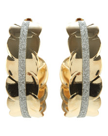 Joy Collectables Diamante Hoop Earrings Gold-Tone
