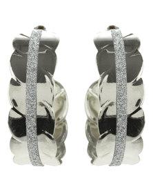 Joy Collectables Diamante Hoop Earrings Silver-Tone