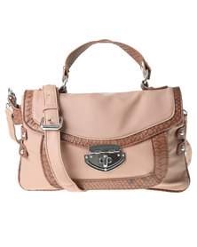 Joy Collectables Twist Lock Satchel X Body Bag Brown