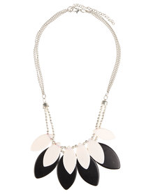 Joy Collectables Leaves Necklace Black & White