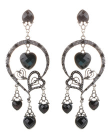 Joy Collectables Heart Drop Earrings Black & Silver