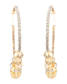 Joy Collectables Stone Hoop Earrings Gold-Tone