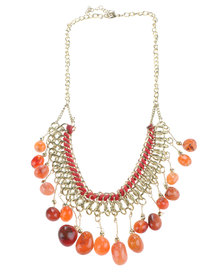 Joy Collectables Multi-Stone Drop Chain Necklace Red