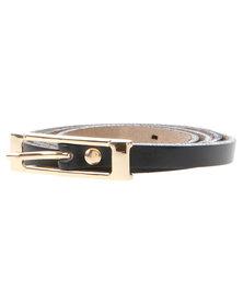Joy Collectables Buckle Skinny Belt Black
