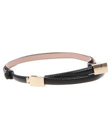Joy Collectables Double Metal Skinny Belt Black
