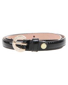 Joy Collectables Diamante Buckle Skinny Belt Black