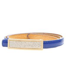 Joy Collectables Diamante Buckle Skinny Belt Blue