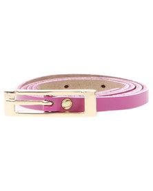 Joy Collectables Buckle Skinny Belt Purple