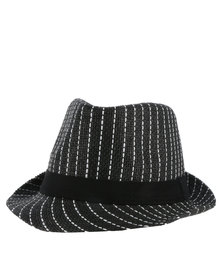 Joy Collectables  Pinstripe Hat With Black Tape Grey