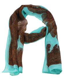 Joy Collectables Ladies Paisley Printed Scarf Turquoise