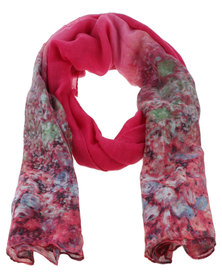 Joy Collectables Ladies Bright  Printed Scarf Pink