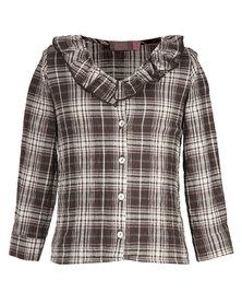 Julina Check Lurex Shirt Brown