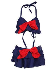 Just Jump! Frill Bikini Navy/Red
