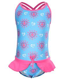 Just Jump! Hearts Peplum Skirt One Piece Blue