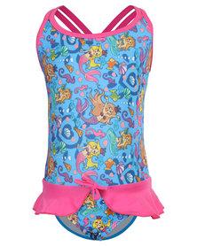 Just Jump! Mermaids Peplum Skirt One Piece Blue