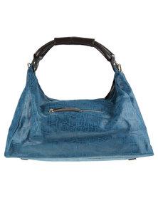 Kenvde Mock Croc Leather Bag Blue