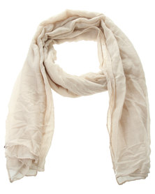 Klines Solid Colour Crinkle Sarong Scarf Cream