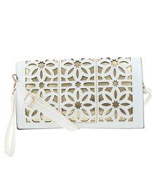 Klines Laser Cut Flower Clutch Bag White